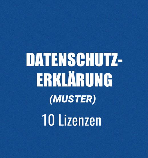 muster datenschutzerklrung 10 lizenzen - Muster Datenschutzerklarung